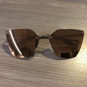 Prada SPR 68T Gold Mirrored Sunglasses Polarized